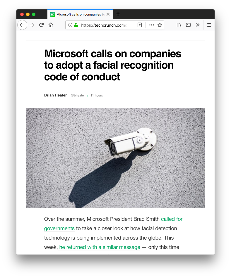 a Techcrunch post page